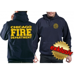 CHICAGO FIRE Dept. lleno amarillo fuente, azul marino Hoodie