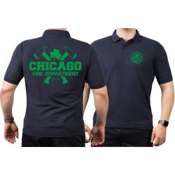 CHICAGO FIRE Dept. axes and IRISH Shamrock, green, navy Polo