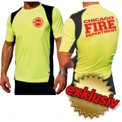 Laufshirt neonyellow, Chicago Fire Dept.(red), breathable