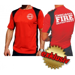 Laufshirt red, Chicago Fire Dept.(white), breathable