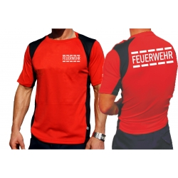 Laufshirt rojo, FEUERWEHR im Polizeidesign blanco,...