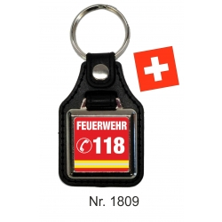 Schlüsselanhänger con Leder FEUERWEHR 118 (CH)