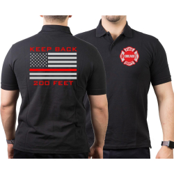 CHICAGO FIRE Dept. flag Keep Back 200 feet, black Polo
