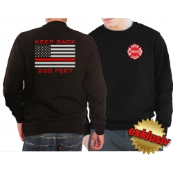 Sweatshirt black, Chicago Fire Dept. flag Keep Back 200...