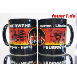 Kaffeetasse mit Feuerwehr-Motiven (1 St)