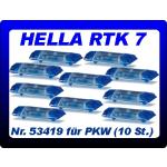 Attrezzature 1:87 Blaulichtbalken Hella RTK 7 (10 St.) blautransparent für PKW