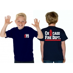 Kinder-T-Shirt navy, CHICAGO FIRE DEPT. Hydrant, white/red