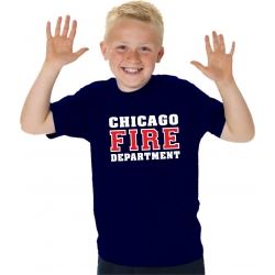 Kinder-T-Shirt navy, CHICAGO FIRE DEPARTMENT in white...