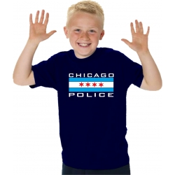 Kinder-T-Shirt navy, CHICAGO POLICE in white with blau...