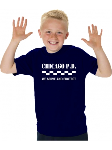 Kinder T-Shirt navy, CHICAGO P.D We serve and protect in weiss