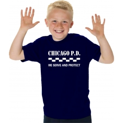 "Kinder-T-Shirt navy, CHICAGO P.D ""We serve and..."