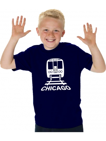 Kinder-T-Shirt navy, CTA Chicago Transit in weiss