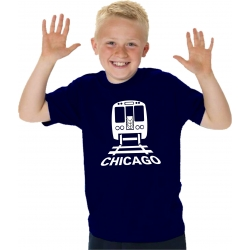 Kinder-T-Shirt navy, CTA Chicago Transit in white