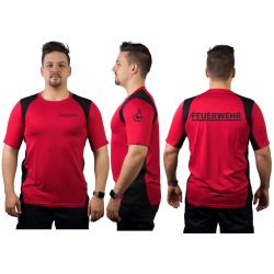 Laufshirt red, FEUERWEHR + Stauferlöwe in black,...