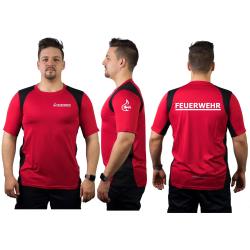 Laufshirt rojo, FEUERWEHR + Stauferlöwe en blanco,...