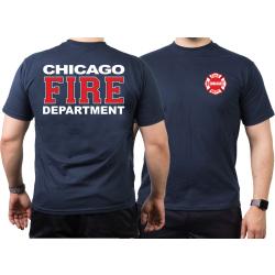 CHICAGO FIRE Dept. white-red-white, navy T-Shirt