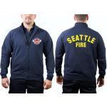 Chaqueta de sudor azul marino, Seattle Fire Dept. con Emblem y Rückenfuente