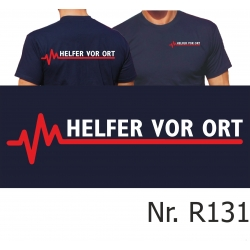 T-Shirt blu navy, Helfer vor Ort con rosso EKG-linea
