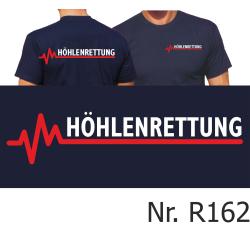 T-Shirt navy, HÖHLENRETTUNG mit roter EKG-Linie
