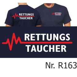 T-Shirt marin, RETTUNGSTAUCHER avec rouge EKG-ligne