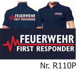 Polo blu navy, FEUERWEHR - FIRST RESPONDER con rosso...