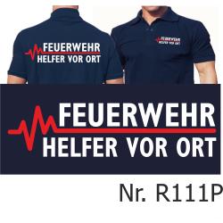 Polo blu navy, FEUERWEHR - Helfer vor Ort con rosso...