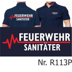 Polo blu navy, FEUERWEHR - SANITÄTER con rosso...