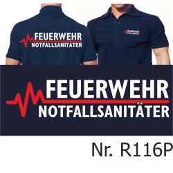 Polo blu navy, FEUERWEHR - NOTFALLSANITÄTER con...