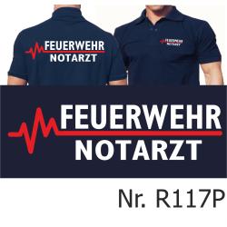 Polo blu navy, FEUERWEHR - medico di emergenza con rosso...