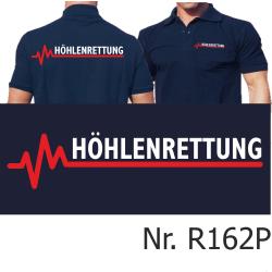 Polo navy, HÖHLENRETTUNG weiß/rot