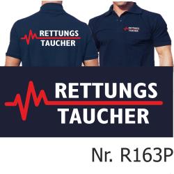 Polo navy, RETTUNGSTAUCHER weiß/rot