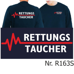 Sweat navy, RETTUNGSTAUCHER weiß/rot