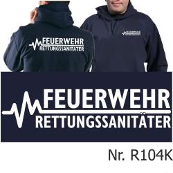 Hoodie navy, FEUERWEHR - RETTUNGSSANITÄTER