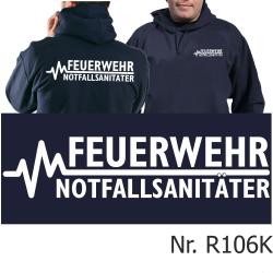 Hoodie navy, FEUERWEHR - NOTFALLSANITÄTER