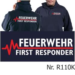 Hoodie navy, FEUERWEHR - FIRST RESPONDER mit roter EKG-Linie