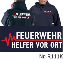 Hoodie navy, FEUERWEHR - Helfer vor Ort mit roter EKG-Linie