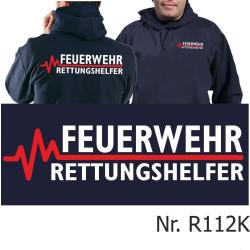 Hoodie navy, FEUERWEHR - RETTUNGSHELFER mit roter EKG-Linie