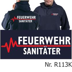 Hoodie navy, FEUERWEHR - SANITÄTER mit roter EKG-Linie