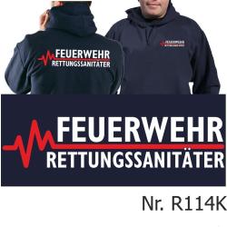 Hoodie navy, FEUERWEHR - RETTUNGSSANITÄTER mit roter...
