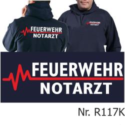 Hoodie navy, FEUERWEHR - NOTARZT mit roter EKG-Linie