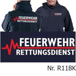 Hoodie navy, FEUERWEHR - RETTUNGSDIENST mit roter EKG-Linie
