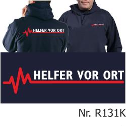 Hoodie navy, Helfer vor Ort mit roter EKG-Linie
