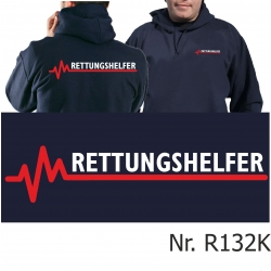Hoodie navy, RETTUNGSHELFER mit roter EKG-Linie