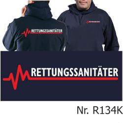 Hoodie navy, RETTUNGSSANITÄTER mit roter EKG-Linie
