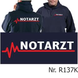 Hoodie navy, NOTARZT mit roter EKG-Linie