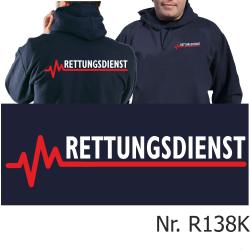 Hoodie navy, RETTUNGSDIENST mit roter EKG-Linie