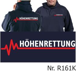 Hoodie navy, HÖHENRETTUNG weiß/rot