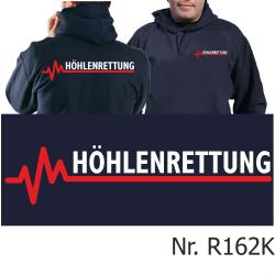 Hoodie navy, HÖHLENRETTUNG weiß/rot