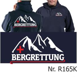 Hoodie navy, BERGRETTUNG mit Bergmotiv weiß/rot
