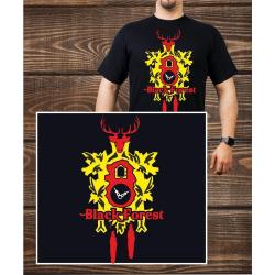 T-Shirt noir, noir Forest yellow Clock